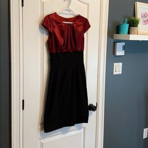 Red/ black fitted dress